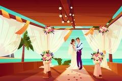 Свадебная церемония на векторе мультфильма берега океана иллюстрация вектора