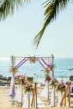 Свадьба настроенная на пляже Стоковая Фотография