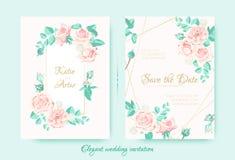 Свадьба приглашает с розами составом и границей иллюстрация штока