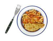 Сваренная вилка плиты еды макаронных изделий рыб Стоковое фото RF