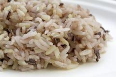 Сваренное изображение конца-вверх коричневого риса видит зерно ясно готовое для еды на белой плите мелкое влияние фокуса стоковые фото
