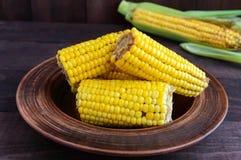 Сваренные и сырцовые стержни кукурузного початка на темной деревянной предпосылке Стоковое Фото