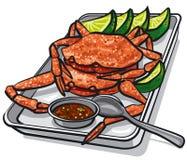 Сваренные крабы морепродуктов иллюстрация вектора