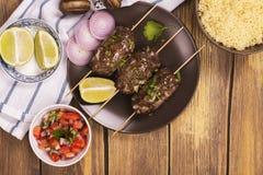 Сваренные kebabs, взгляд сверху Стоковая Фотография