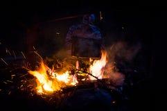 Сваренный законсервированный сваренный на выигрыше огня Стоковые Фотографии RF