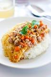 сваренный chop рис свинины омлета Стоковая Фотография