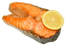 Сваренный salmon стейк Стоковые Фотографии RF