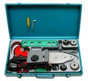 сваривать инструментов пластмассы трубы установленный Стоковое Изображение RF