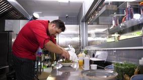 Сварите в кухне ресторана подготавливая салат авокадоа сток-видео