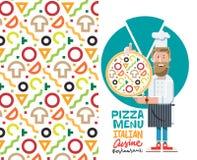 Сварите при иллюстрация вектора пиццы и меню изолированная на белой предпосылке Плоский стиль Стоковые Изображения RF