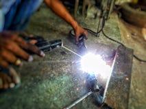 Сварщики сваренные стальные стоковое фото rf
