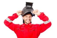 Сварщик в красных прозодеждах Стоковая Фотография RF