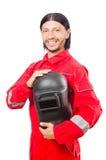 Сварщик в красных прозодеждах Стоковое фото RF
