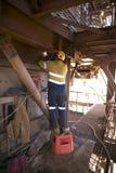 Сварщик нося полную перчатку оборудования для обеспечения безопасности, маску использующ и стоящ вверх на безопасности индустрии  стоковые фото
