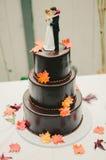 Свадебный пирог листьев осени Стоковые Фото