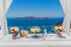 Свадебный пирог и букеты цветков Стоковые Изображения RF