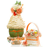 Свадебный пирог и букет Стоковое Фото