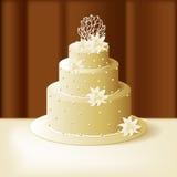 Свадебный пирог с лилиями и сладостными жемчугами бесплатная иллюстрация