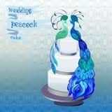 Свадебный пирог с павлинами пар Голубой, зеленый дизайн вектора Стоковая Фотография
