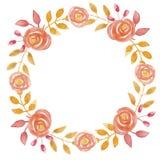 Свадьба венка лист осени гирлянды акварели оранжевая выходит листва покрашенная рукой Стоковое Изображение RF