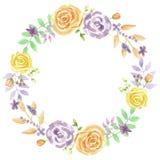Свадьба гирлянды венка лета лаванды акварели фиолетовая Стоковое Фото