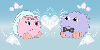 Свадьба жениха и невеста орнаментирует голубую предпосылку Стоковые Изображения