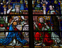 Свадьба Иосиф и Mary - цветного стекла Стоковые Изображения RF