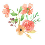 Свадьба лист весны лета букета мака акварели выходит листва покрашенная рукой Стоковые Изображения