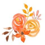 Свадьба лист гирлянды коралла букета осени цветка акварели оранжевая Стоковая Фотография