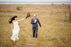 Свадьба и любовная история в природе Стоковое Изображение