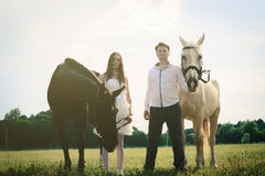 Свадьба лошадей необыкновенных пар счастливых близко Стоковые Фотографии RF