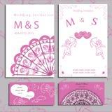 Свадьба приглашения и карточек комплекта Стоковая Фотография RF