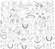 Свадьба Doodle установленная для карточек приглашения бесплатная иллюстрация