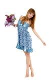 Свежая девушки красивейшая с цветком пука весны Стоковые Фотографии RF