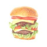 Свежая иллюстрация гамбургера Стоковое Изображение RF