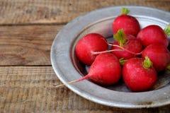 Свежая красная редиска для салата на деревянной предпосылке еда healty Стоковая Фотография RF
