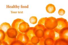 Свежая морковь кусков изолированная на белой предпосылке изолировано Стоковая Фотография RF