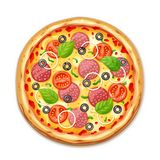 Свежая пицца с томатом, сыром, оливкой, сосиской, луком бесплатная иллюстрация