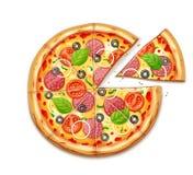 Свежая пицца с томатом, сыром, оливкой, сосиской, луком иллюстрация вектора