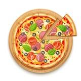 Свежая пицца с томатом, сыром, оливкой, сосиской, луком иллюстрация штока