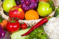 Свежая предпосылка фруктов и овощей стоковое фото