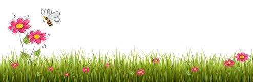 Свежая реалистическая зеленая трава с красными цветками - vector иллюстрация Стоковые Изображения