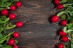 Свежая редиска на старом деревянном столе Предпосылка редиски Деревенский тип Стоковые Изображения RF