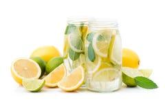 свежее бутылочное стекло лимонада при изолированные плодоовощи Стоковые Фотографии RF