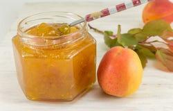Свежее варенье плодоовощ абрикоса с листьями Стоковое Изображение RF