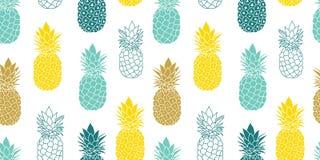 Свежее голубое желтое повторение безшовное Pattrern вектора ананасов в серых и желтых цветах большой для ткани, упаковывающ иллюстрация штока