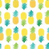 Свежее голубое повторение безшовное Pattrern вектора ананасов желтого зеленого цвета в серых и желтых цветах Большой для ткани иллюстрация вектора