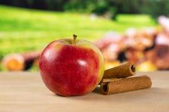 Свежее красное яблоко james горюет с природой страны Стоковые Изображения