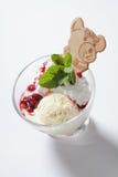 Свежее мороженое с вареньем в конце стеклянного шара вверх стоковые изображения rf