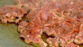 Свежее мясо зажарено на печь листе в масле сток-видео